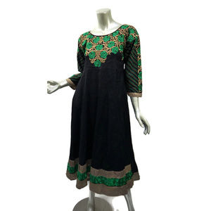 Boho Black Ornate Kameez Dress Floral Embroidery